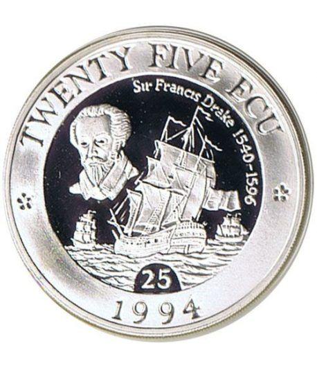 Moneda de plata 25 ECU Europa Gran Bretaña 1994.  - 1