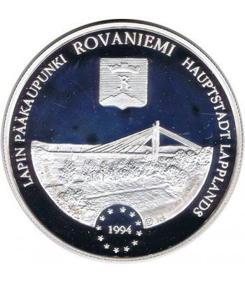 Moneda de plata 20 Ecu Finlandia 1994 Rovaniemi.  - 1