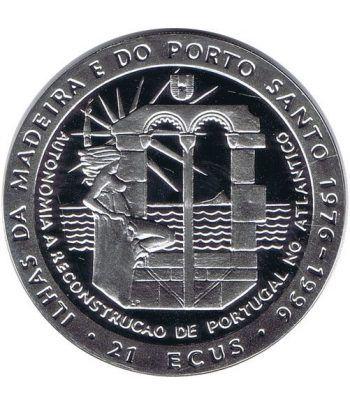 Moneda de plata 21 ecus Madeira 1994. Estuche  - 1