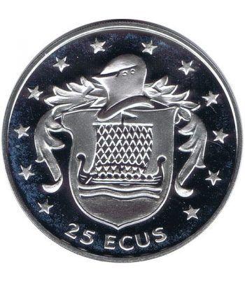 Moneda de plata 25 ecus Isla de Man 1994. Estuche  - 4
