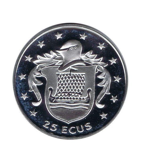 Moneda de plata 25 ecus Isla de Man 1994. Estuche  - 1