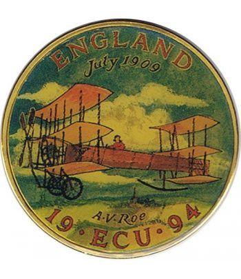 Moneda Ecu Europa Gran Bretaña 1994 Color. Avión.  - 2