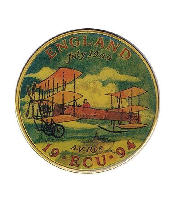 Moneda Ecu Europa Gran Bretaña 1994 Color. Avión.  - 1