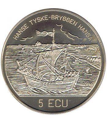 Moneda 5 Ecu Noruega 1995 Bergen Brygge. Cuproníquel.  - 1