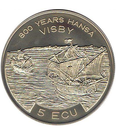 Moneda 5 Ecu Suecia 1994 Barco. Cuproníquel.  - 1