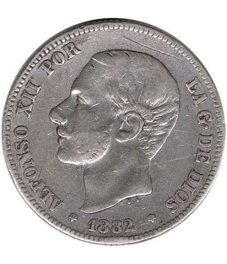 2 Pesetas Plata 1882 *82 Alfonso XII MS M.  - 1
