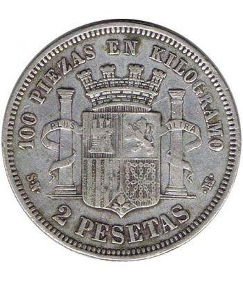 2 Pesetas Plata 1869 *69 Gobierno Provisional.  - 4