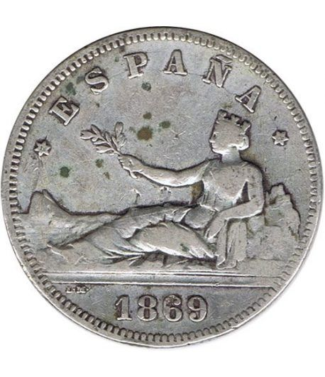 2 Pesetas Plata 1869 *69 Gobierno Provisional.  - 1