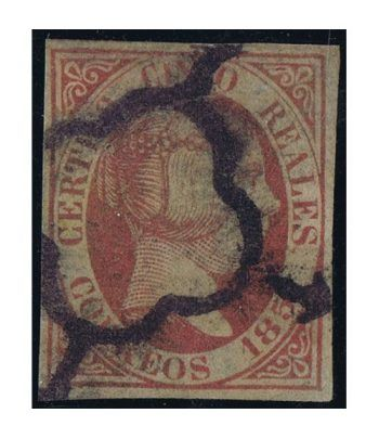 Sello de España nº 09 Isabel II. 5 Reales rosa. Matasellos Araña  - 1