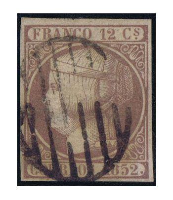Sello de España nº013 Isabel II. 12 cuartos Lila. Matasellos  - 1