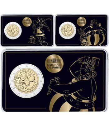 moneda conmemorativa 2 euros Francia 2019 Asterix. 3 coincards  - 1