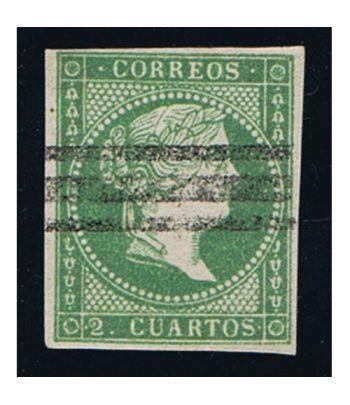 Sello de España nº047 Isabel II. 2 cuartos Verde. Matasellos  - 1