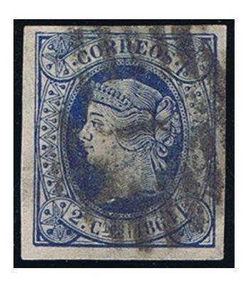 Sello de España nº063 Isabel II. 2 cuartos Azul. Matasellos  - 1