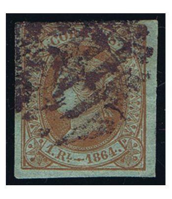 Sello de España nº067 Isabel II. 1 Real Castaño. Matasellos  - 1