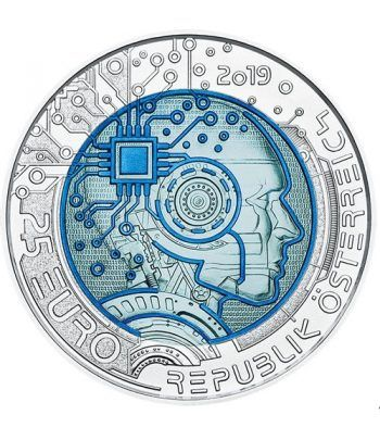 moneda Austria 25 Euros 2019 Inteligencia Artificial. Niobio.  - 1