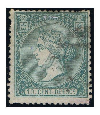 Sello de España nº084 Isabel II. 10 Céntimos Verde. Matasellos  - 1