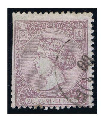 Sello de España nº085 Isabel II. 20 Céntimos Lila. Matasellos.  - 1