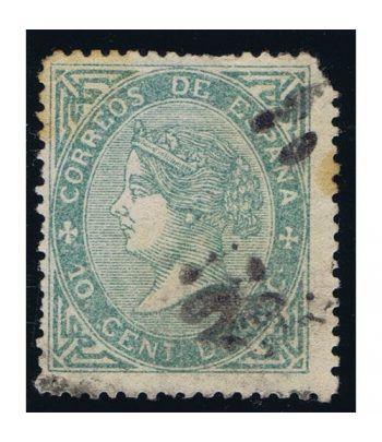 Sello de España nº091 Isabel II. 10 Céntimos Verde. Matasellos  - 1