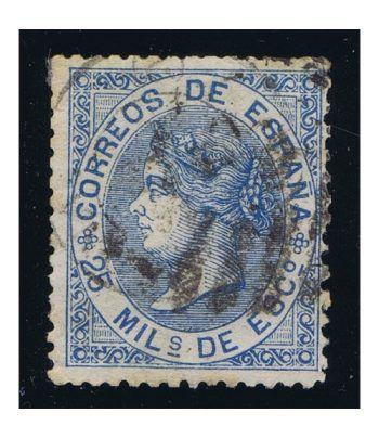 Sello de España nº097 Isabel II. 25 Milésimas Azul. Matasellos.  - 1