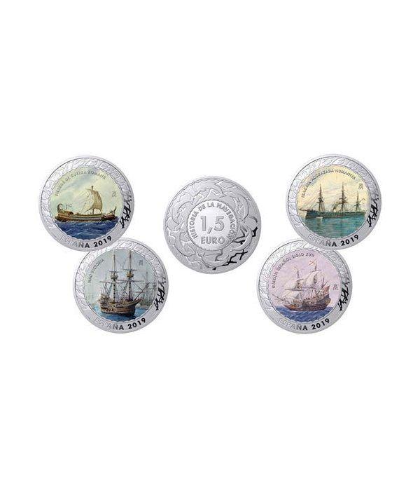 Monedas 2019 Historia de la Navegación IV. 4 monedas.  - 1