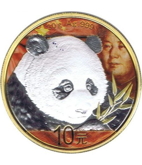 Moneda onza de plata color 10y. China Oso Panda 2018 Dorada  - 1