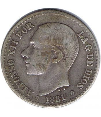 50 céntimos Plata 1881 *81 Alfonso XII MS M.  - 1