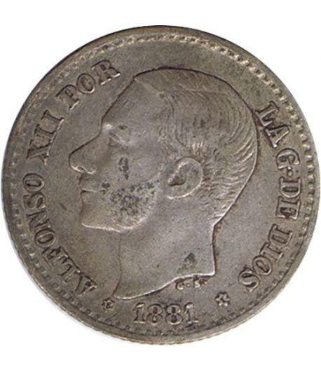 50 céntimos Plata 1881 *81 Alfonso XII MS M.  - 1