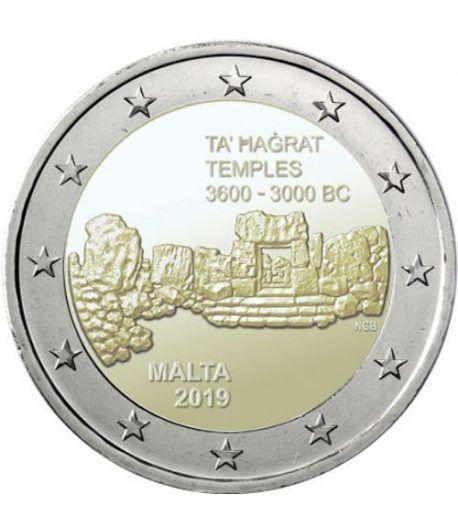moneda conmemorativa 2 euros Malta 2019 Templos Hagrat.  - 2