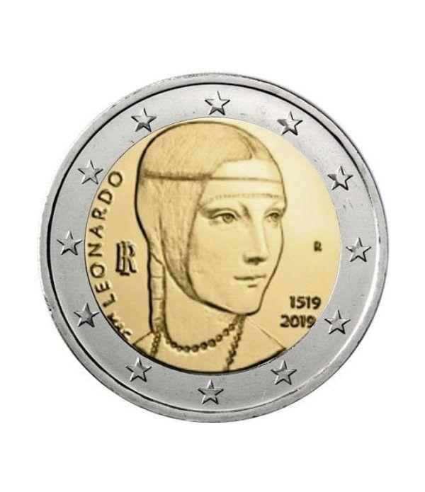 moneda conmemorativa 2 euros Italia 2019 Da Vinci.  - 2
