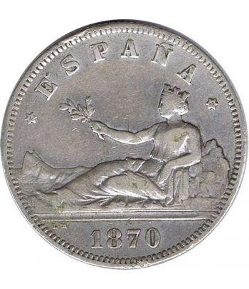 2 Pesetas Plata 1870 *73 Gobierno Provisional.  - 2
