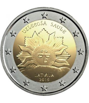 moneda conmemorativa 2 euros Letonia 2019 Sol Naciente.  - 2