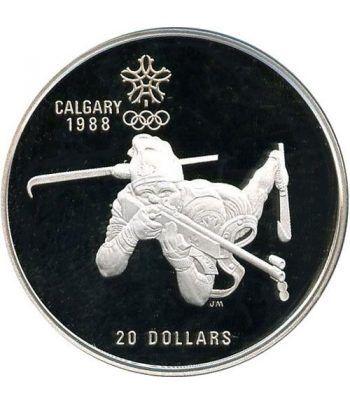 Moneda de plata 20$ Canada 1986. Calgary 1988. Biathlon.  - 2