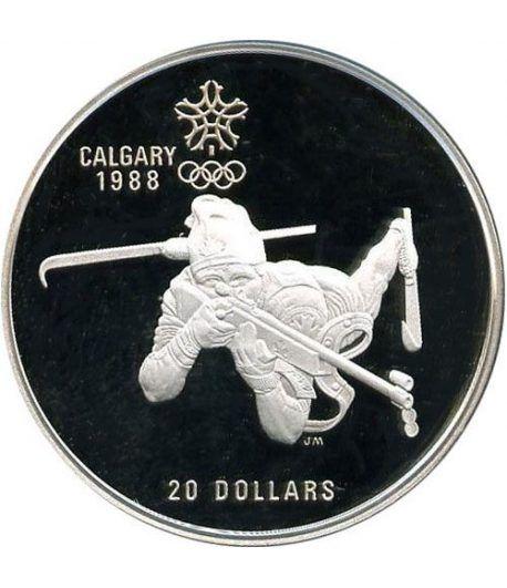 Moneda de plata 20$ Canada 1986. Calgary 1988. Biathlon.  - 1