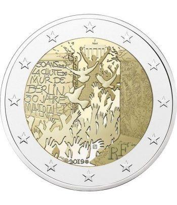 moneda conmemorativa 2 euros Francia 2019 Muro Berlín.  - 2