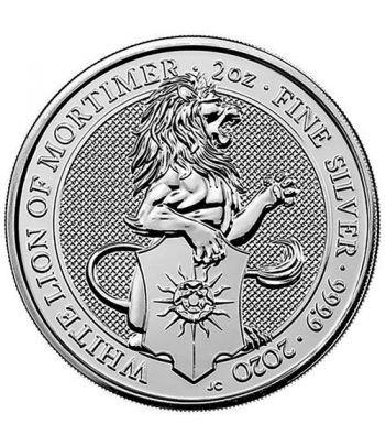 Moneda 2 onzas de plata 5 Pounds Inglaterra Lion 2020.  - 2