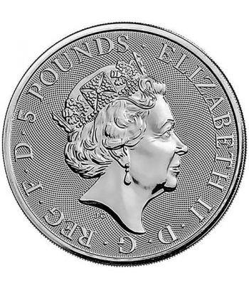 Moneda 2 onzas de plata 5 Pounds Inglaterra Lion 2020.  - 4