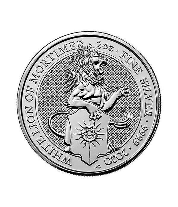 Moneda 2 onzas de plata 5 Pounds Inglaterra Lion 2020.  - 1