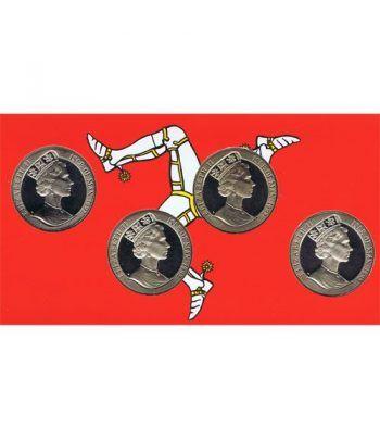 Estuche monedas Man 1992. Trenes. 4 monedas.  - 4