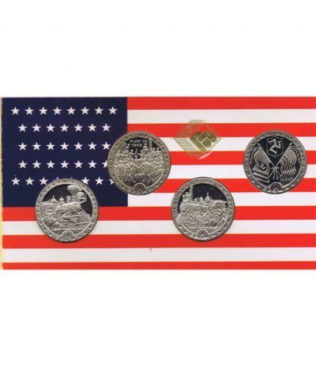 Estuche monedas Man 1992. Trenes. 4 monedas.  - 1