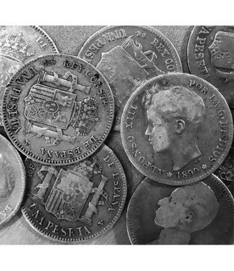 Lote 10 monedas 1 peseta de plata. Inversión.  - 2