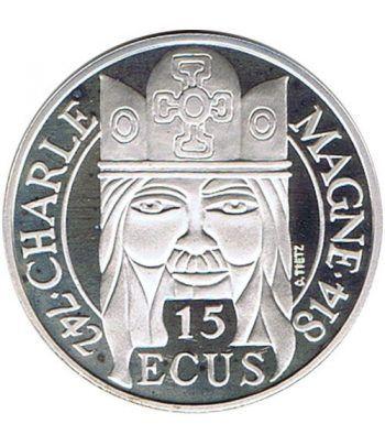 Moneda de plata 15 Ecus/100 Francs Francia 1990 Carlomagno.  - 1