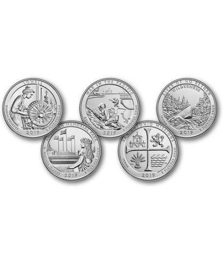 E.E.U.U. 1/4$ 2019 Parques Nacionales (5 monedas) ceca D.  - 2