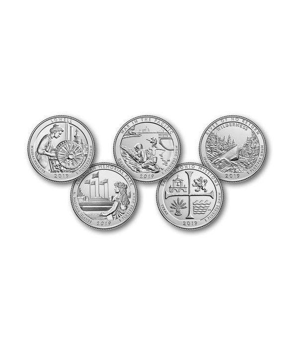 E.E.U.U. 1/4$ 2019 Parques Nacionales (5 monedas) ceca P  - 2
