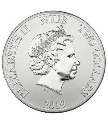Moneda onza de plata 2$ Niue Disney Mickey Navidad 2019.  - 2