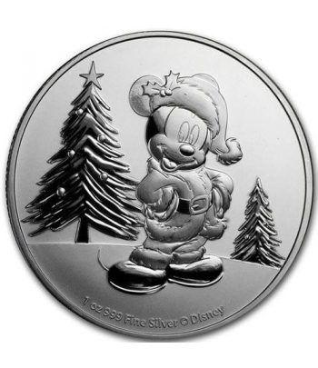 Moneda onza de plata 2$ Niue Disney Mickey Navidad 2019.  - 1