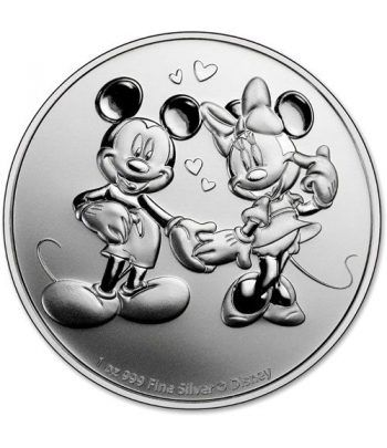 Moneda onza de plata 2$ Niue Disney Mickey y Minnie 2020.  - 1