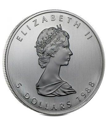 Moneda onza de plata 5$ Canada Hoja de Arce 1988  - 4