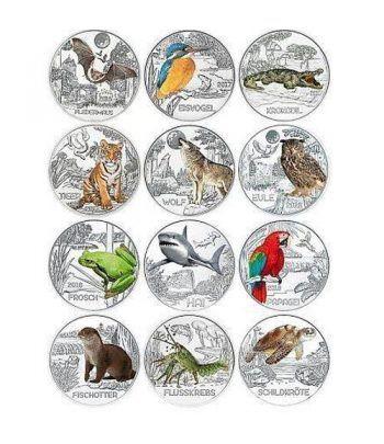 Colección 12 monedas Austria 3 Euros Tier-Taler Fauna.  - 1