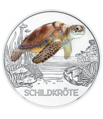 moneda Austria 3 Euros 2019 Tortuga color Tier-Taler.  - 1