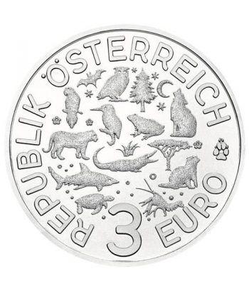 moneda Austria 3 Euros 2018 Rana color Tier-Taler.  - 2